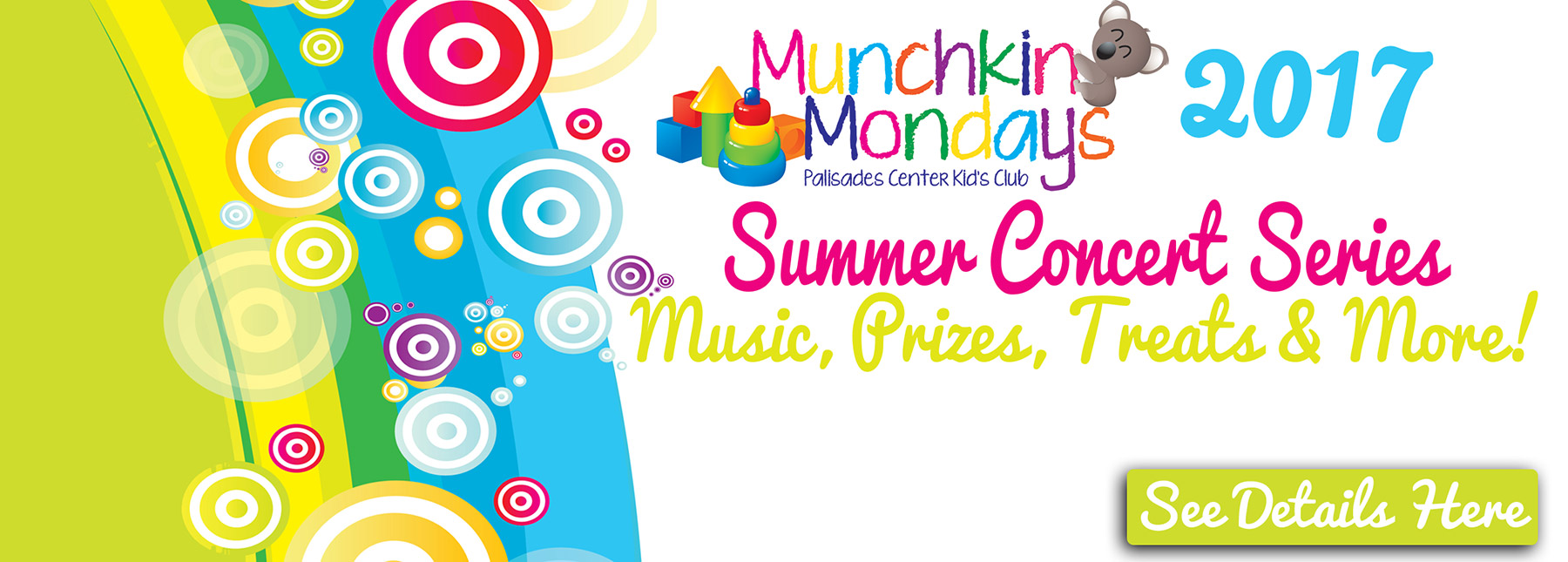 Munchkin Mondays - Palisades Center Kid's Club - Summer Concert Series 2017 - Music, Prizes, Treats & More!