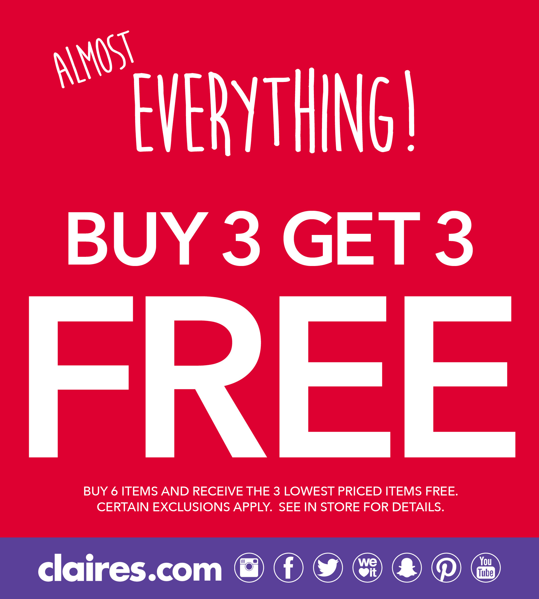 Almost Everything Buy 3 Get 3 FREE Promo Ad