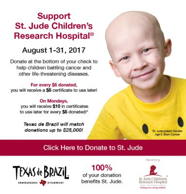 support st. jude children's research hospital charity event for texas de brazil ad